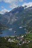 tät geirangerfjord upp Royaltyfri Fotografi