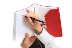 tät handanteckningsbok upp Arkivfoto