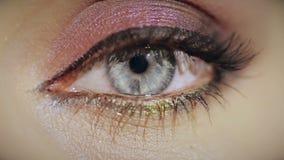 tät kosmetisk ögonkvinnligmakeup upp lager videofilmer