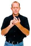 tät manmessagingtext upp fotografering för bildbyråer