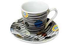 tät maträtt för kaffecolorfullkopp upp Arkivfoto