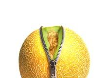 tät melon som dras ned blixtlåset på upp Arkivbilder