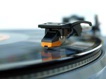 tät nål för register för detaljbildspelare upp vinyl Fotografering för Bildbyråer