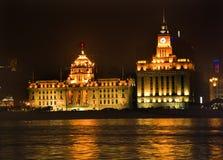 tät natt shanghai för bund upp Royaltyfria Bilder