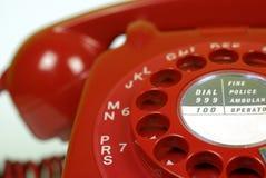 tät röd telefon upp Arkivbild