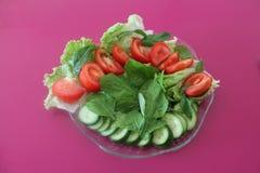 tät sallad som skjutas upp grönsaken Arkivfoto