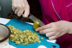 tät sallad som skjutas upp grönsaken Ryska recept Matlagningingredienser: Kvinnan klipper gravade gurkor för grönsaker ombord Royaltyfria Foton