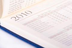 tät sida för 2010 kalender upp Fotografering för Bildbyråer