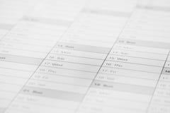 tät sida för kalender upp Arkivfoton