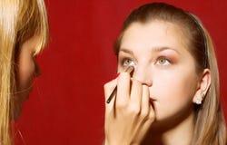 tät skapande makeup för beautician upp Arkivbild