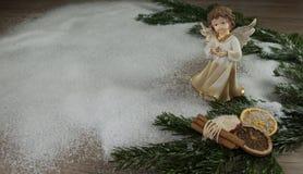 tät snow för ängel upp Arkivbild