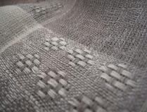 tät textur för tyglinnemakro upp Arkivbilder