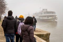 Tät vinterdimma i Budapest Arkivbilder