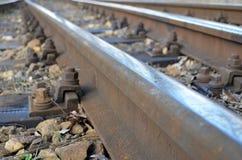 täta daglinjer järnväg spåriner upp två Royaltyfri Fotografi