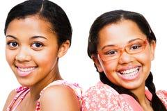 täta flickor tonårs- två upp Royaltyfria Foton
