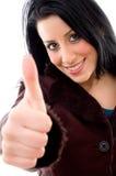 täta lyckliga model tum up sikt Fotografering för Bildbyråer
