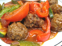 täta meatballs up grönsaker Arkivfoton