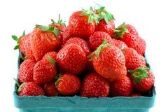 täta nya isolerade jordgubbar upp arkivfoto