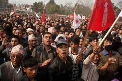 Tätigkeit CPN-UML gegen die maoistische Party in Nepal Lizenzfreie Stockfotos