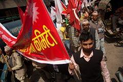 Tätigkeit CPN-UML gegen maoistische Party in Nepal Lizenzfreies Stockbild