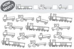 Tätigkeit für Kinder Pädagogisches Spiel Zählen Sie, wieviele Transport und sie färben vektor abbildung