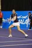Tätigkeit geschossen vom Kirilenko Show-down von Tennis Lizenzfreies Stockfoto