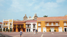 Tätigkeit in Plaza de la Aduana in der historischen Mitte von Cartagena Lizenzfreie Stockfotos