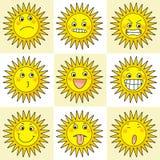 Tätigkeitsikone mit 9 Karikaturen der Sonne Lizenzfreie Stockfotos