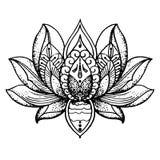 Tätowierung Lotus, Buddhismus stock abbildung