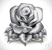 Tätowierung Rose mit Blättern und Wassertropfen Stockbild