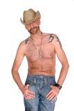 Tätowierung, tragender Mann des Hutes Stockbild