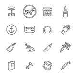 Tätowierung und Piercing Ikonen Lizenzfreie Stockbilder