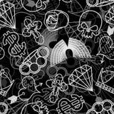 Tätowierungs-nahtloses Muster Schädel und Messingknöchel Rose und hören lizenzfreie abbildung