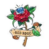 Tätowierungsrotrose mit blauem Edelstein nach innen Leidenschaftsliebe leuchtend Symbol der Liebe Rose wird im Band eingewickelt  stock abbildung