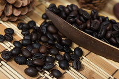 tätt kaffe för böna som skjutas upp Arkivbild
