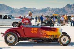Tävlings- bil på den startande linjen under världen av hastighet 2012 Fotografering för Bildbyråer