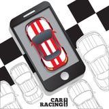 Tävlings- bilar i form av en mobil applikation Royaltyfri Bild