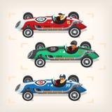 Tävlings- bilar på start Arkivfoton