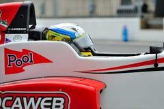 Tävlings- bilchaufför i Monza racespår Arkivbilder