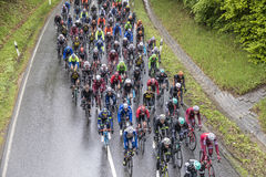 Tävlings- cyklister på den loppRund hm hålan Finanzplatz Frankfurt Arkivfoton