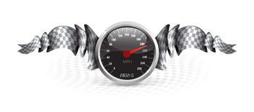 Tävlings- emblem med hastighetsmätaren Royaltyfria Bilder