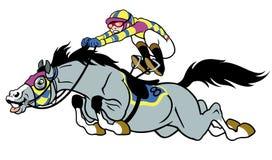 Tävlings- häst med jockeyen Royaltyfria Bilder