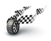 Tävlings- hjul för sport med slåendeflaggor Royaltyfri Foto