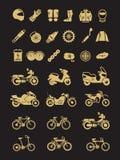 Tävlings- motorcykel, cykel, mopeddelar och trans.vektorsymboler vektor illustrationer