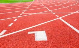 1 tävlings- röda startspår för 2 3 lanes Gränder 1 nummer ett arkivbild