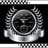Tävlings- sköld för Speedometer vektor illustrationer