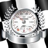 Tävlings- sköld för vit Speedometer Royaltyfria Foton