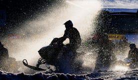 tävlings- snowmobile Arkivfoto