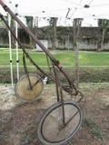 Tävlings- sulky som används i travsport utan hästen Arkivfoto