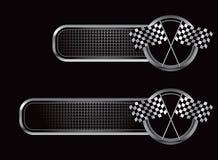 tävlings- svarta rutiga flaggor för baner Arkivfoto